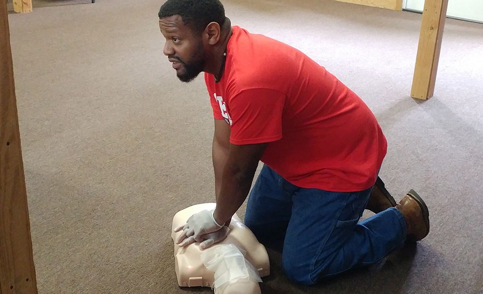 A man practicing CPR